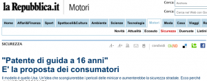 Patente a 16 anni: impossibile
